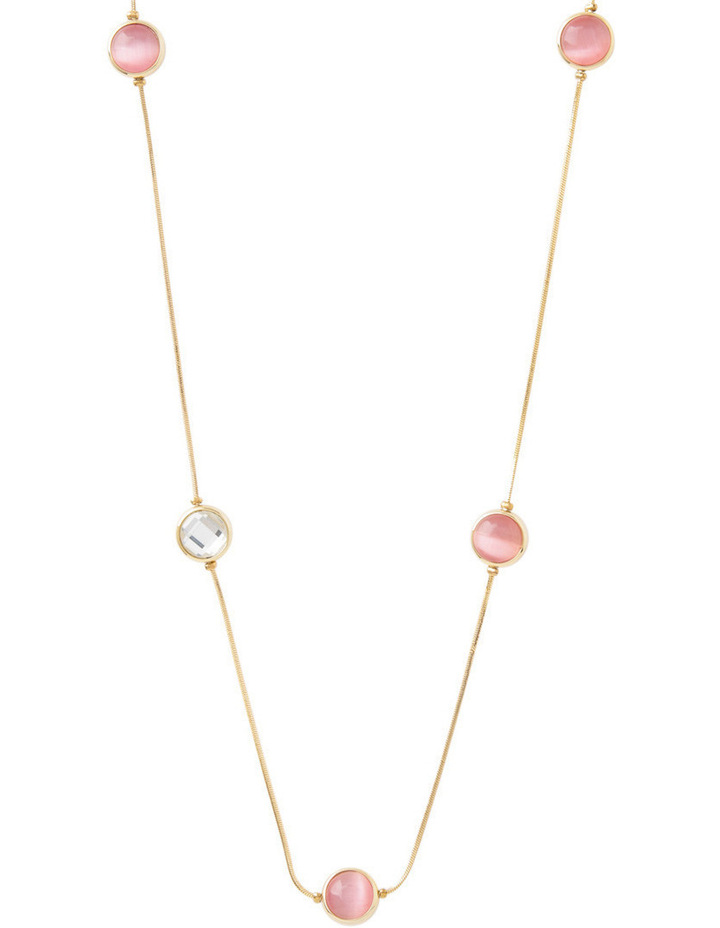 Large Circle Station Necklace With Crystal image 1