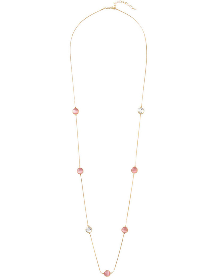 Large Circle Station Necklace With Crystal image 2