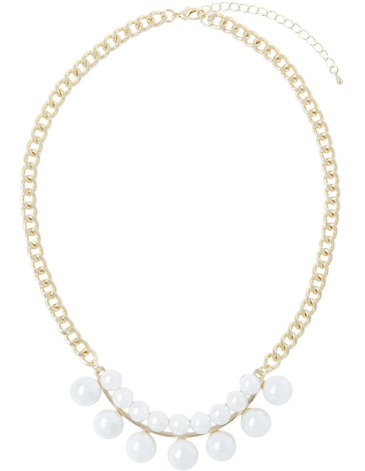 Double Pearl Chain Statement Necklace image 2