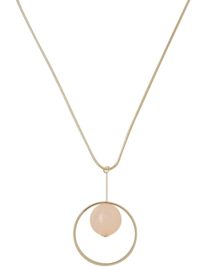 Long Pendant with Blush Ball in Circle image 1