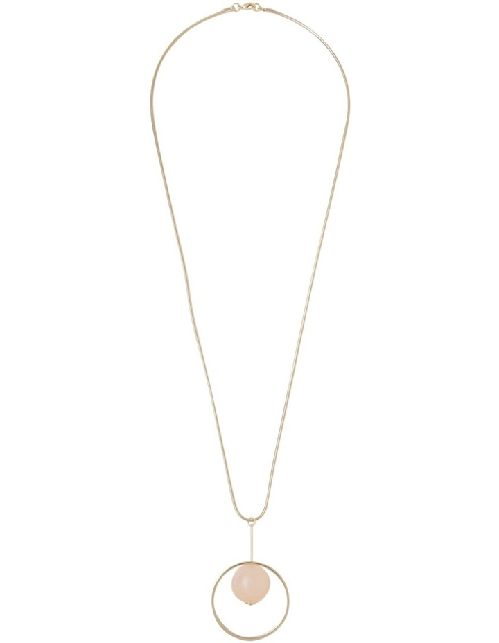 Long Pendant with Blush Ball in Circle image 2