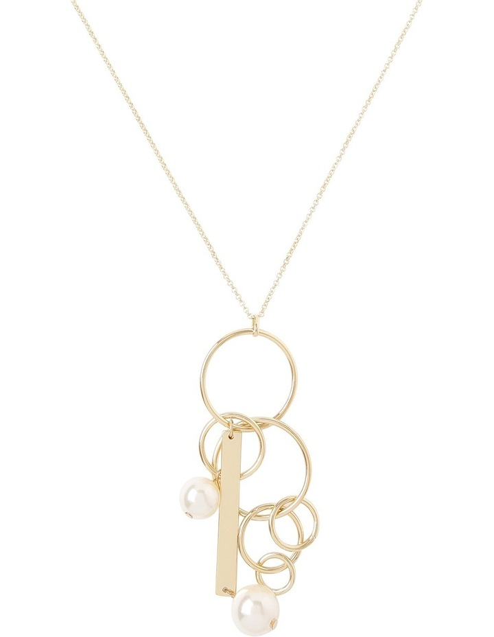 Hoop and Pearl Pendant Necklace image 1