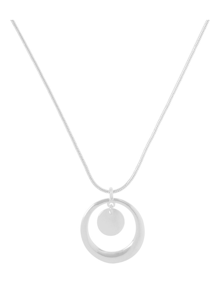 Short Open Disc Necklace Silver image 1