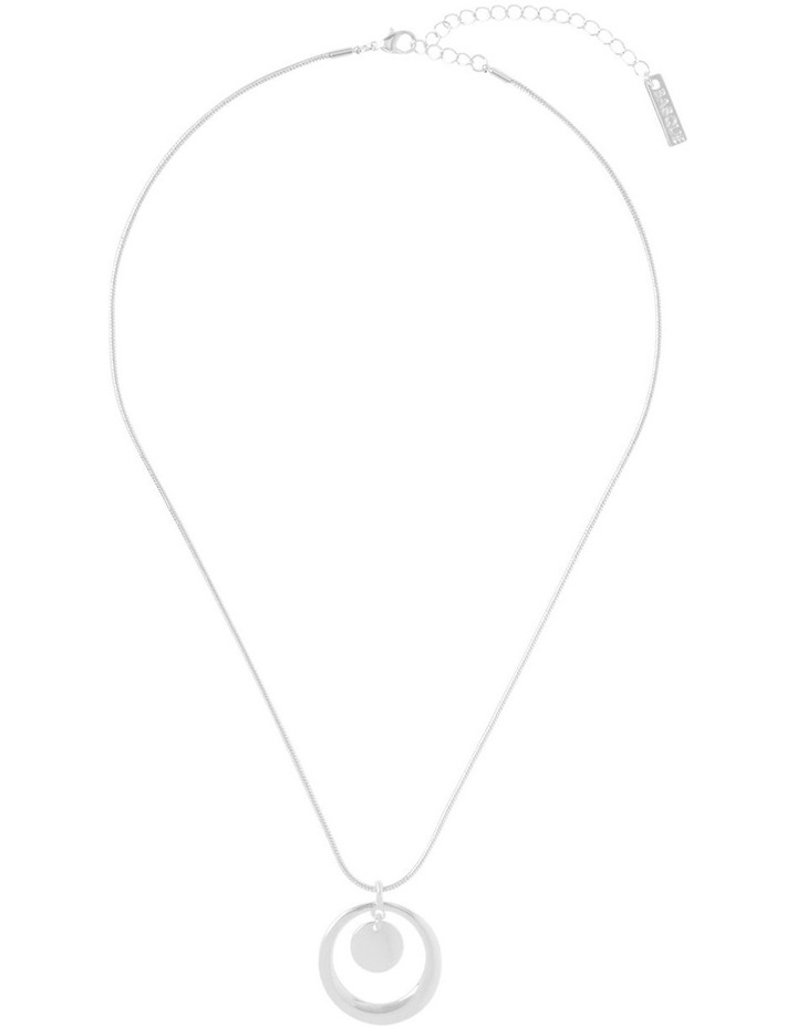 Short Open Disc Necklace Silver image 2