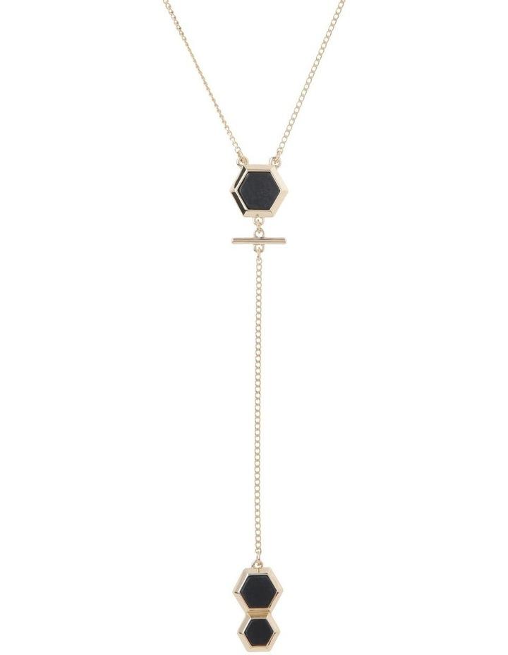 Heagonal Stone Lariat Necklace image 1