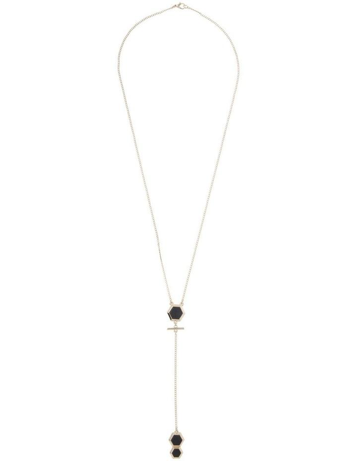 Heagonal Stone Lariat Necklace image 2