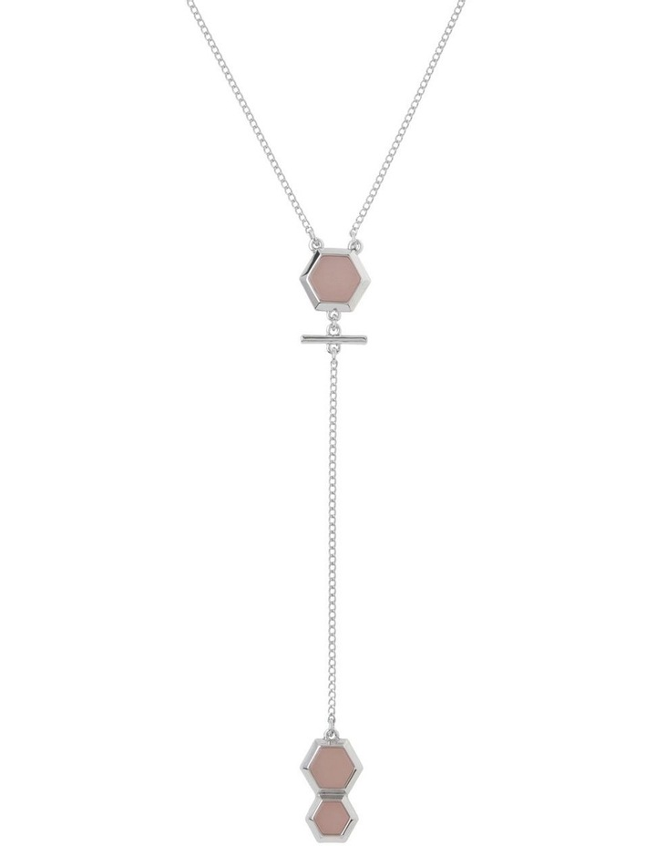 Hexagonal Stone Lariat Necklace image 1