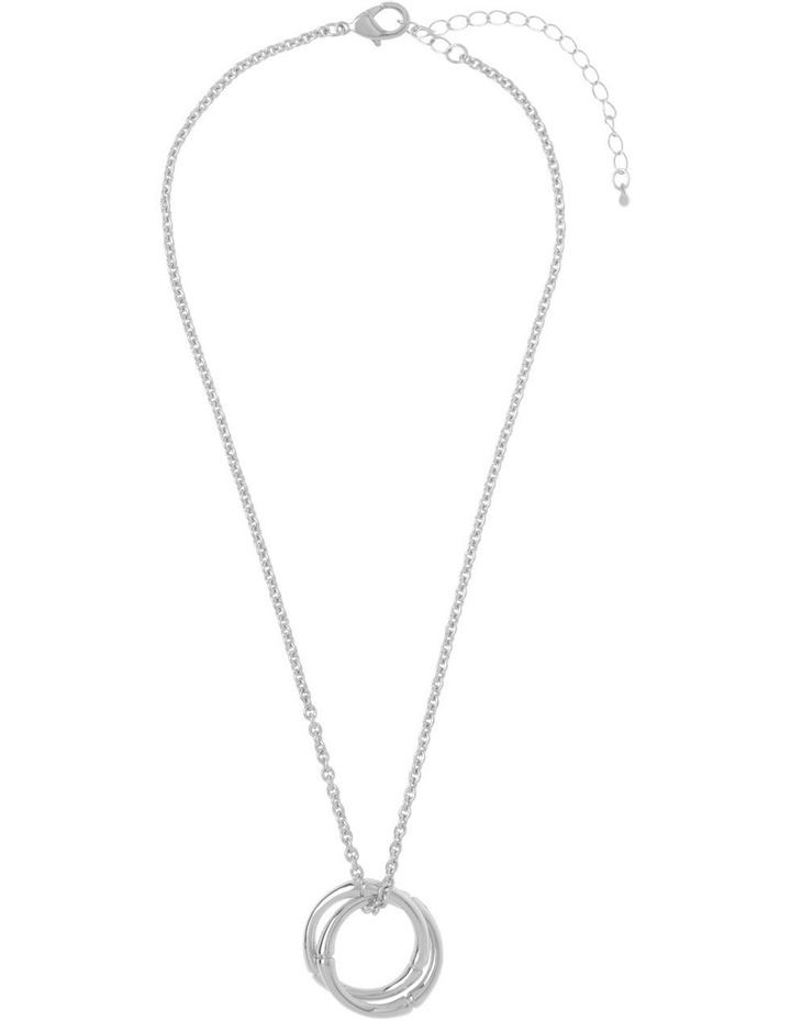 Bamboo Double-Hoop Necklace - Silver image 2