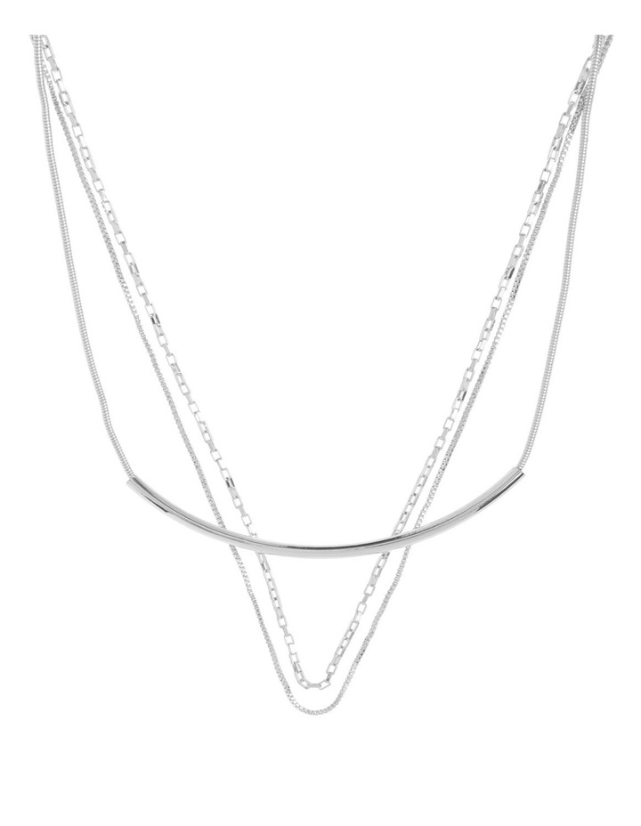 Multi Chain Layered Necklace Silver image 1