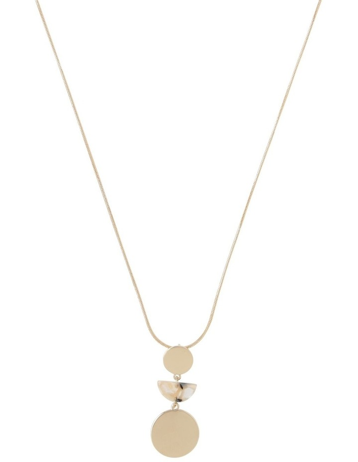 Long Geometric Necklace Gold Milky image 1