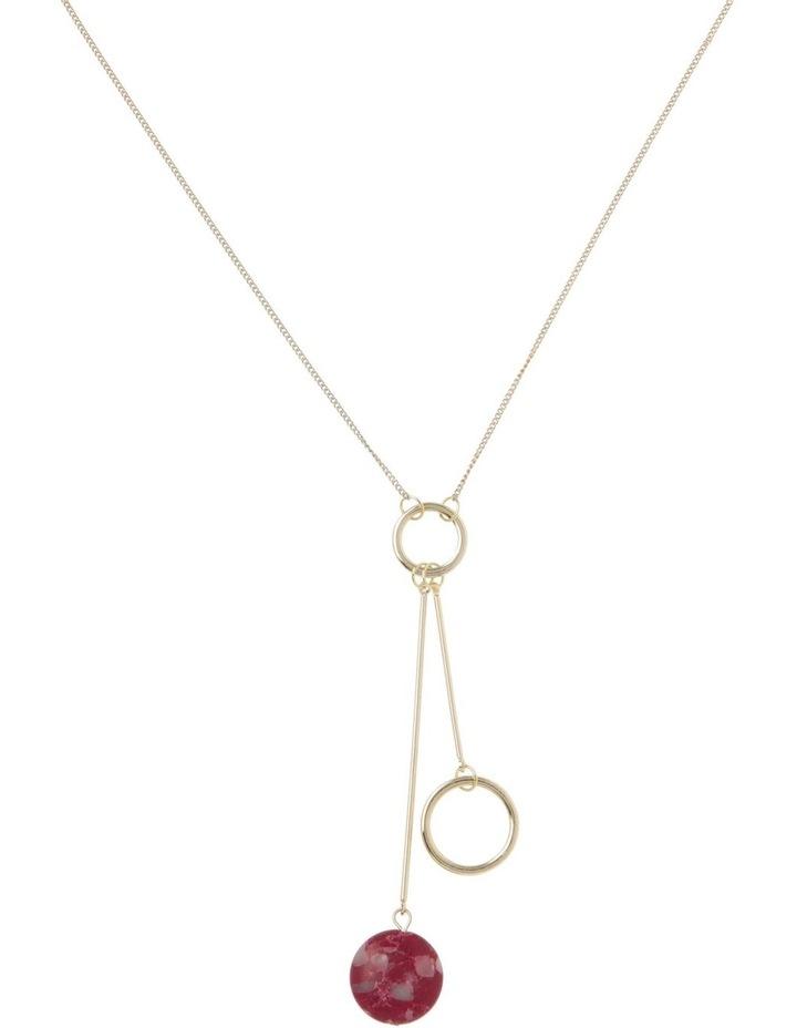 Wine Berry Hoop Drop Stone Necklace image 1