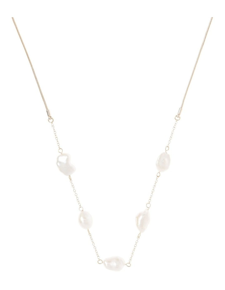 Freshwater Pearl Station Snake Chain Necklace image 1