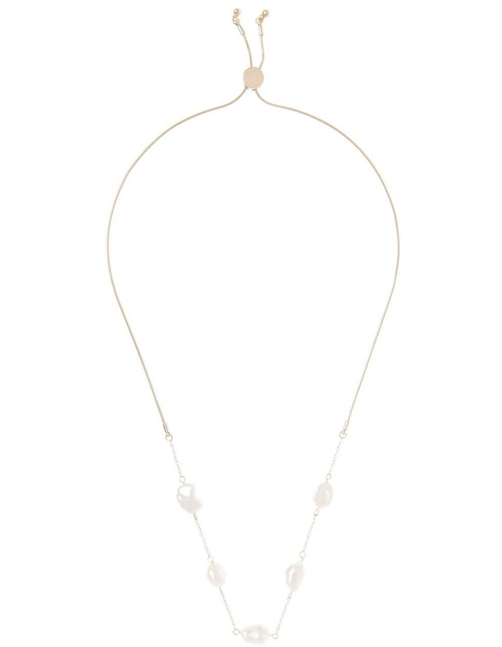 Freshwater Pearl Station Snake Chain Necklace image 2