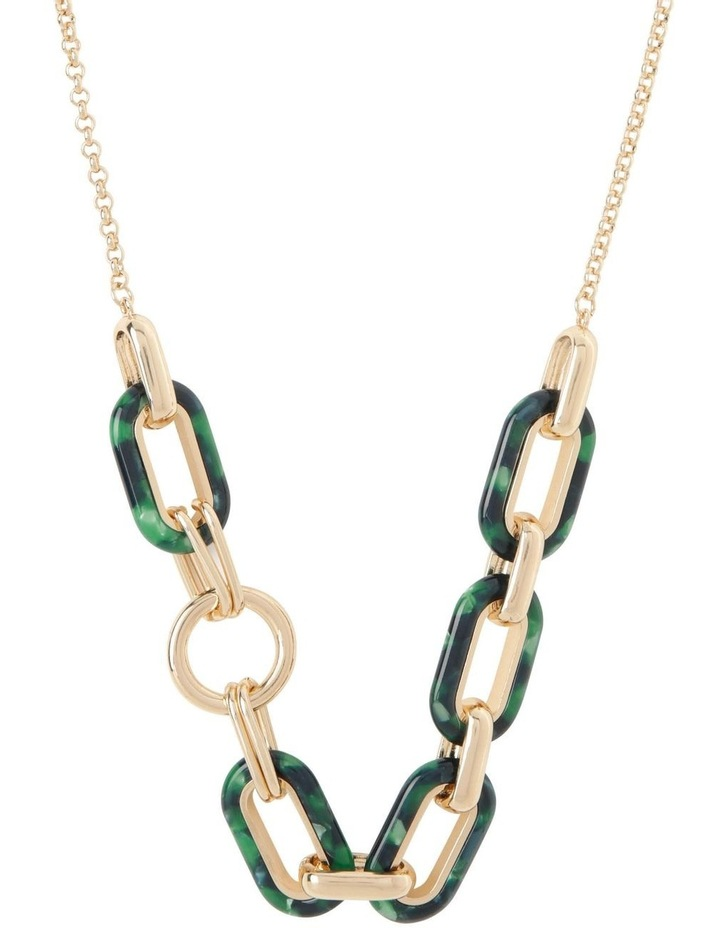 Tortoiseshell T-Bar Chunky Chain Necklace image 1