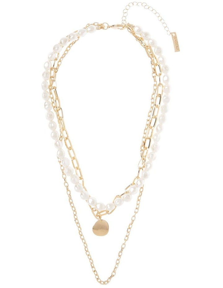 White Pearl and Beaten Pendant Multi-Strand Necklace image 2