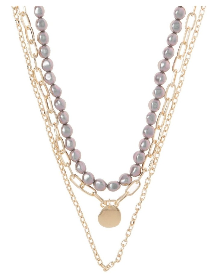 Black Pearl and Beaten Pendant Multi-Strand Necklace image 1