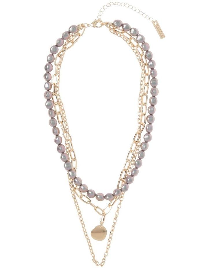 Black Pearl and Beaten Pendant Multi-Strand Necklace image 2