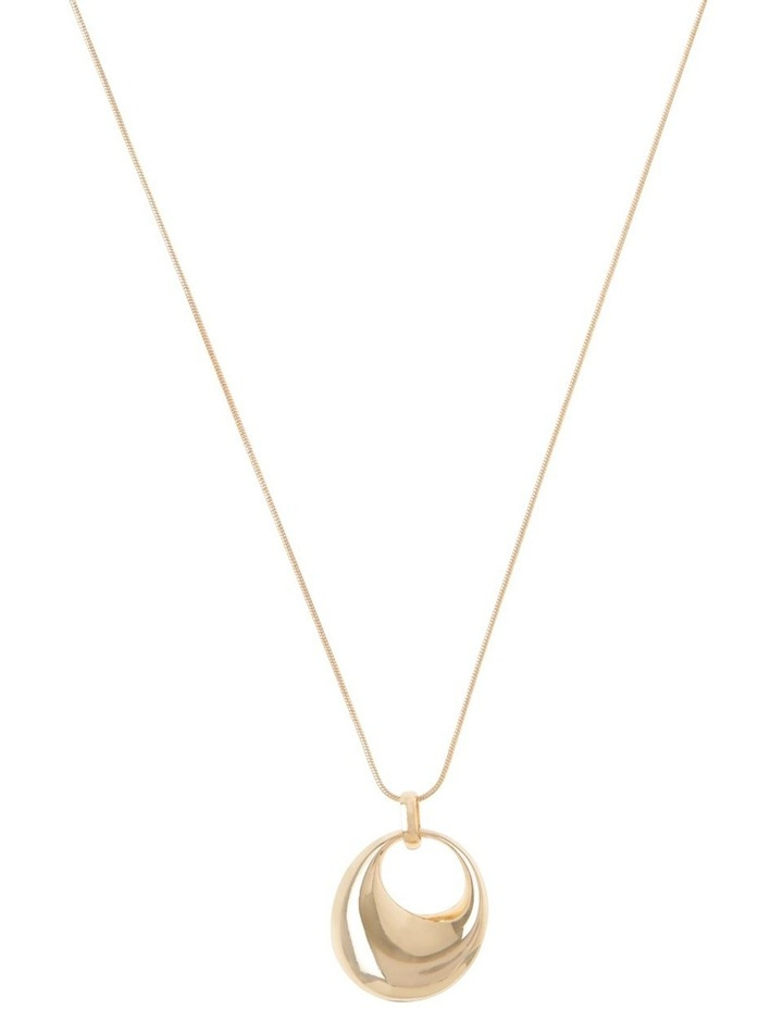 Long Gold Circle Pendant Necklace image 1