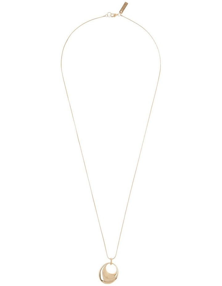 Long Gold Circle Pendant Necklace image 2