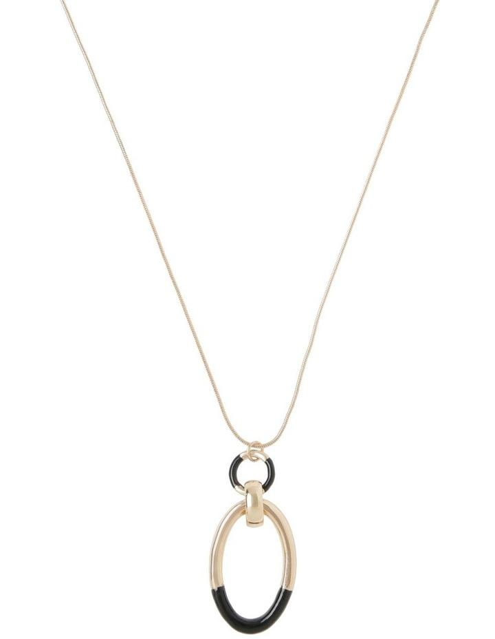 2 Toned Circle Drop Necklace image 1