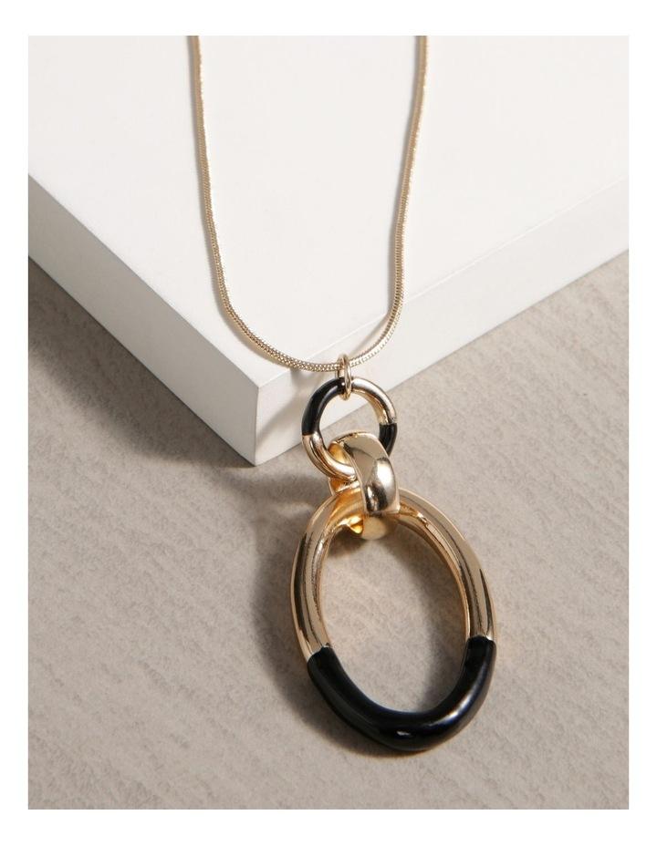 2 Toned Circle Drop Necklace image 3