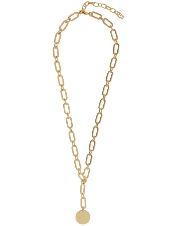 24k Gold Plated Flat Disc Chain Necklace image 2