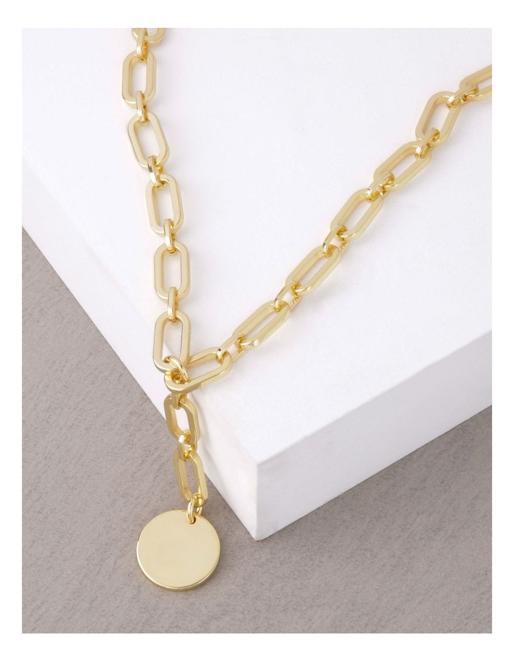 24k Gold Plated Flat Disc Chain Necklace image 3