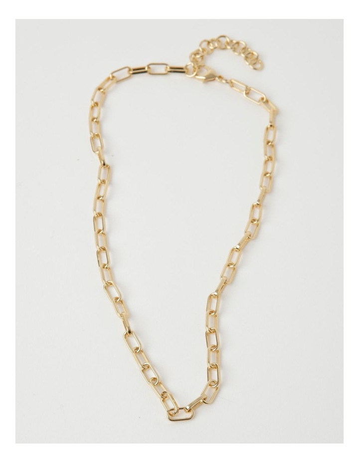 Rectangle Link Gold Necklace image 2