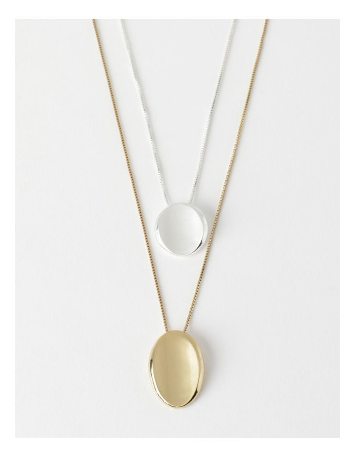 Layered Two Tone Disc Necklace image 1