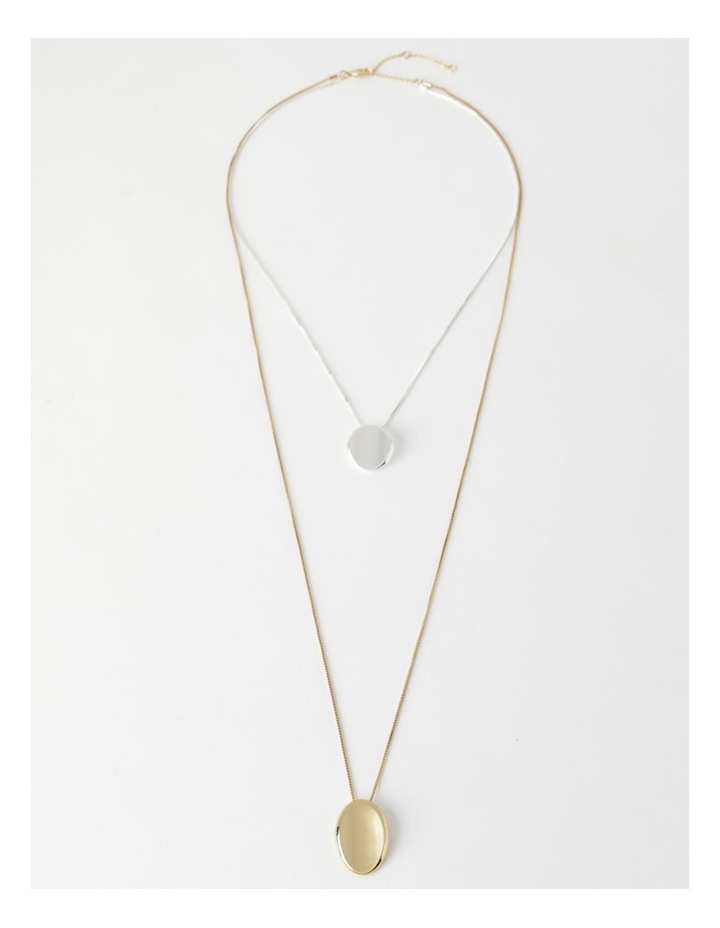 Layered Two Tone Disc Necklace image 2