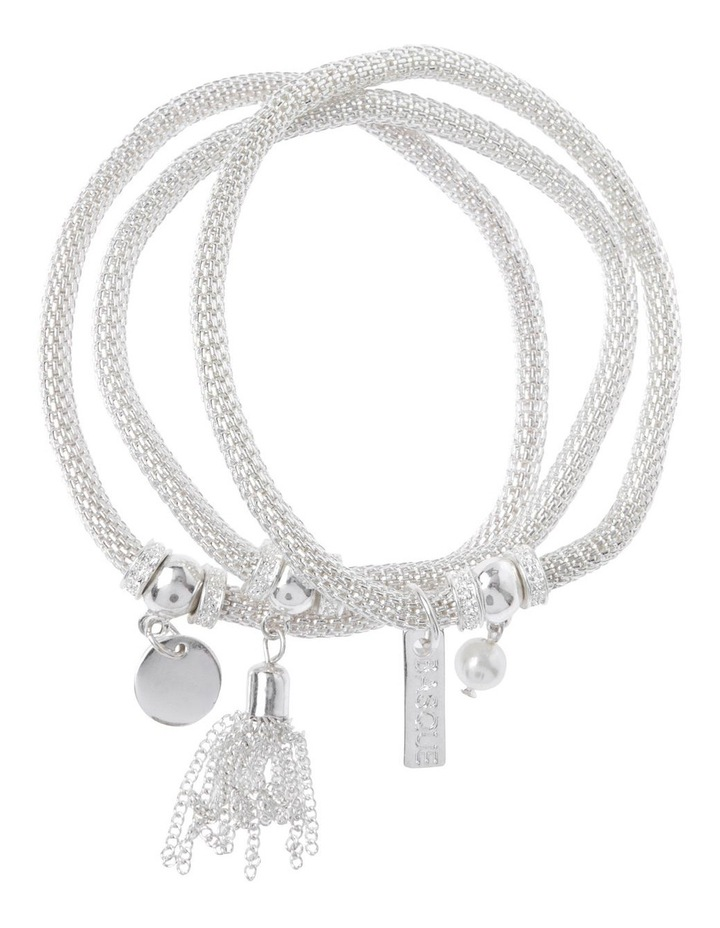 Mesh Stretch Bracelet with Charms Silver image 1