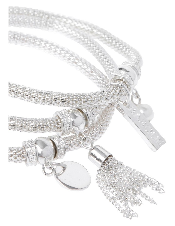 Mesh Stretch Bracelet with Charms Silver image 2