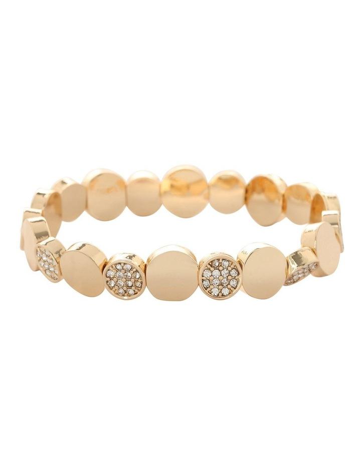 Disc and Diamante Stretch Bracelet Gold image 1