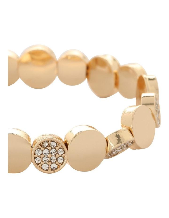Disc and Diamante Stretch Bracelet Gold image 2