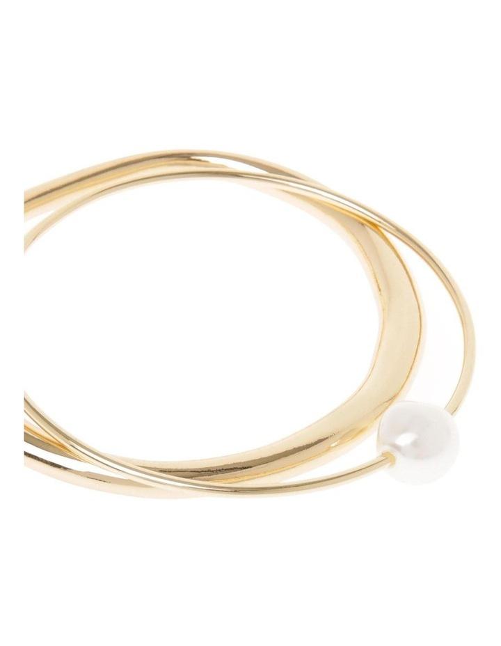 2 Pack Gold-Tone White Pearl Bangles image 2