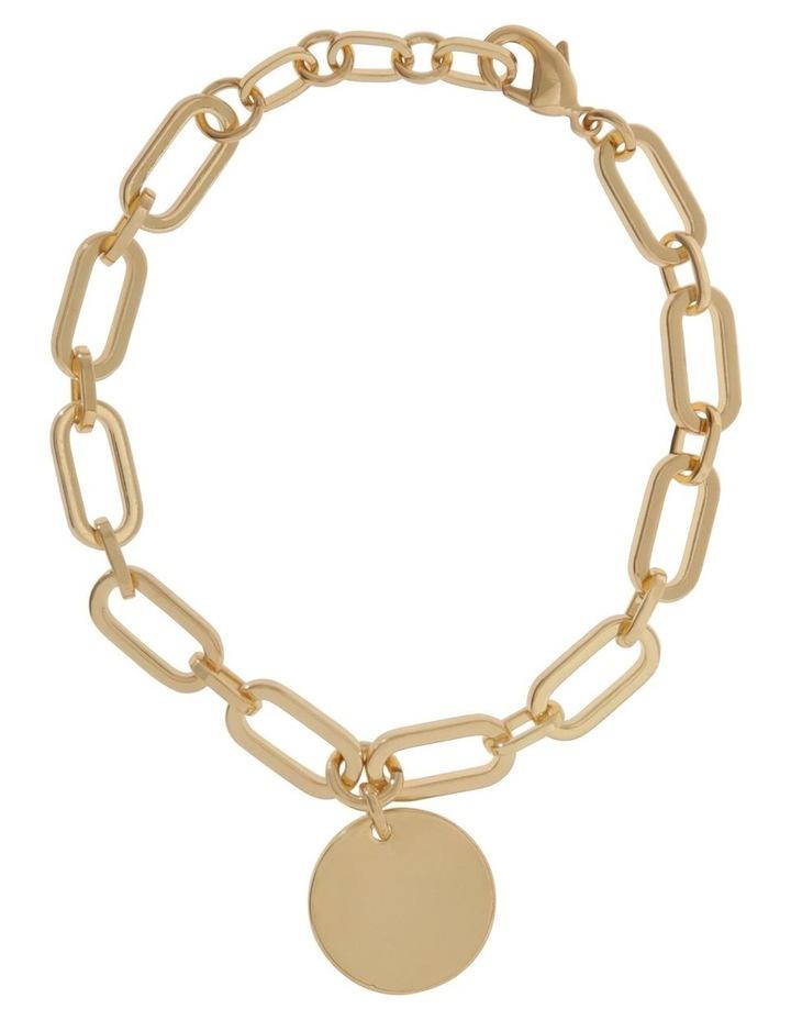 24k Gold Plated Flat Disc Chain Bracelet image 1