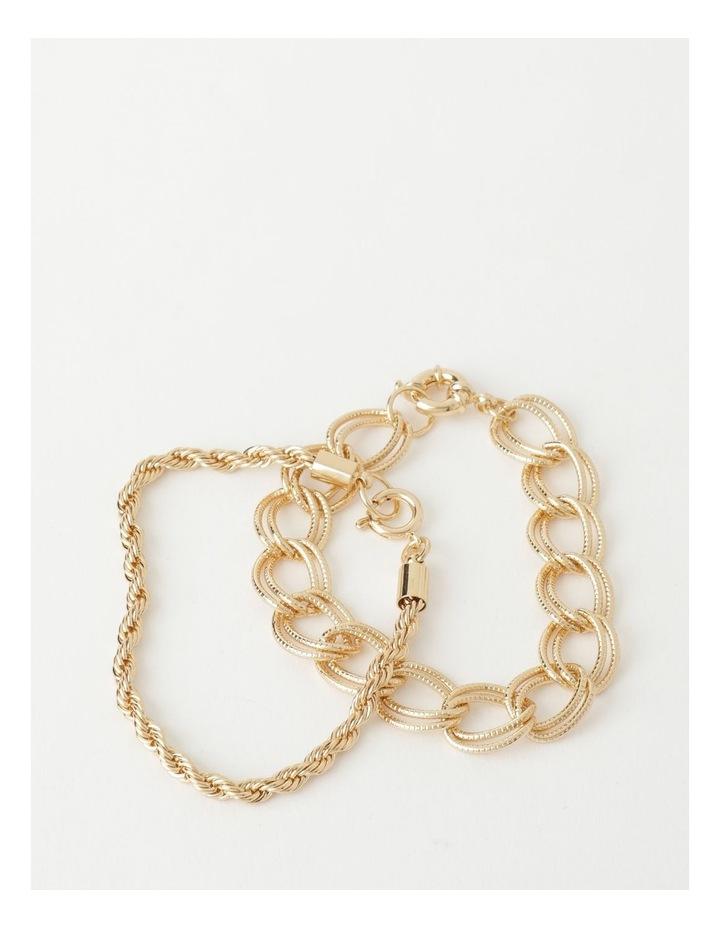 Textured Gold Chain Bracelet image 1