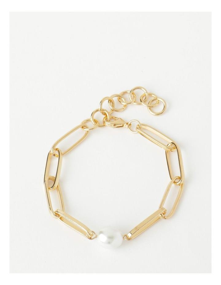 Link and Pearl Gold Bracelet image 1