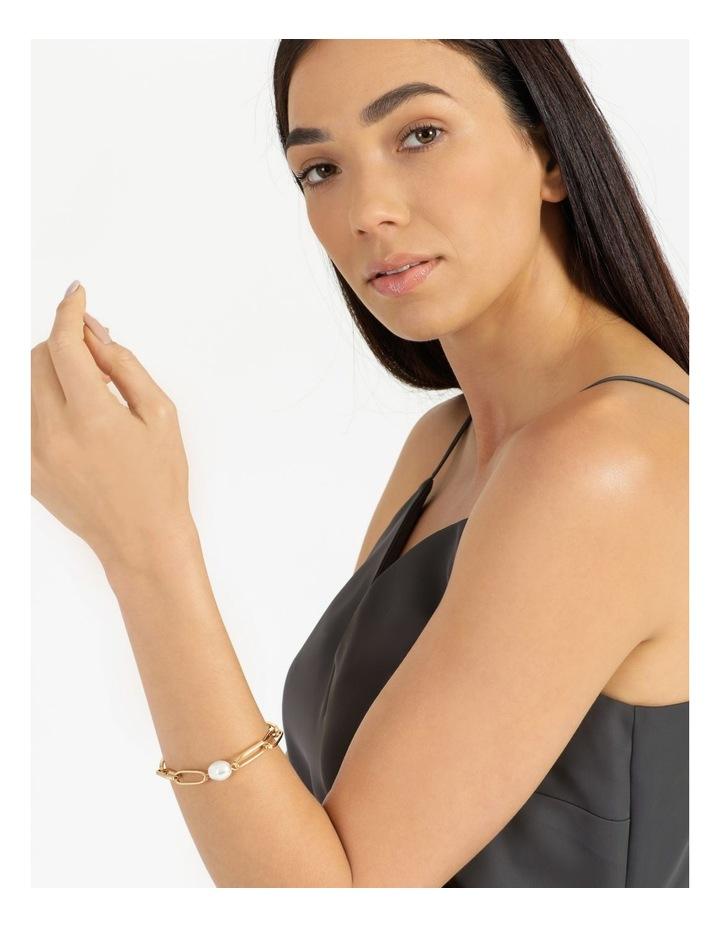 Link and Pearl Gold Bracelet image 2