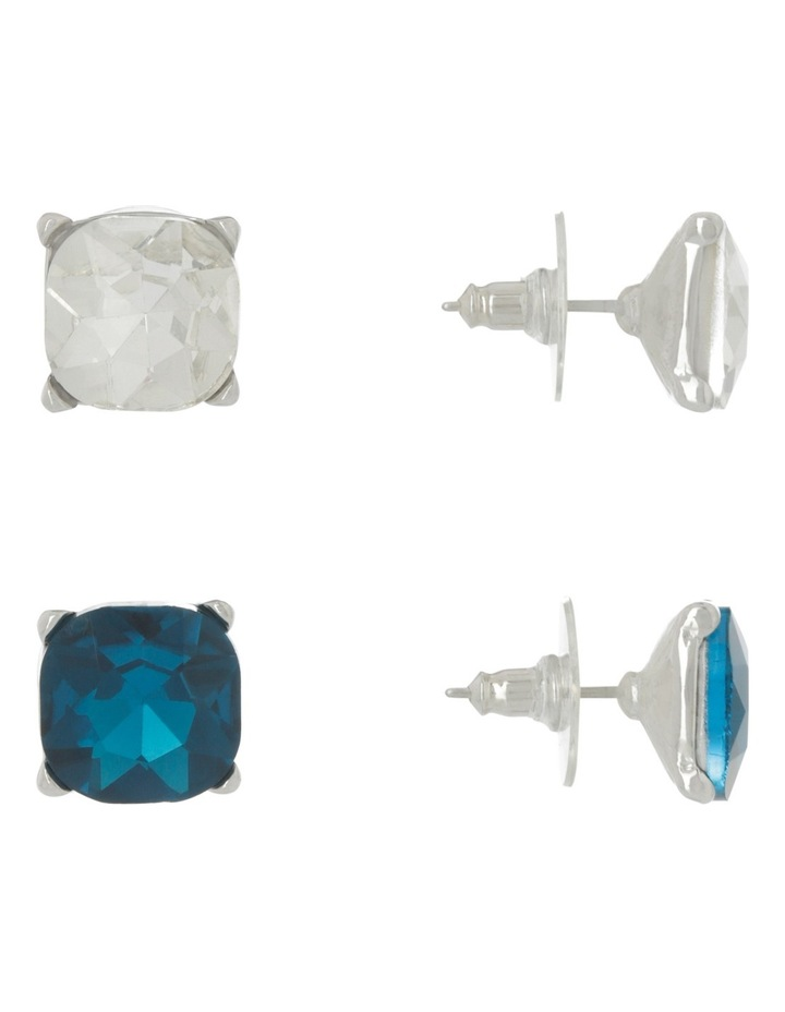 Large Crystal Stud Pack Blue Zircon/Clear image 2