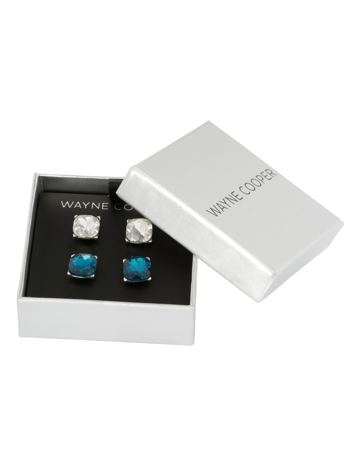 Large Crystal Stud Pack Blue Zircon/Clear image 3