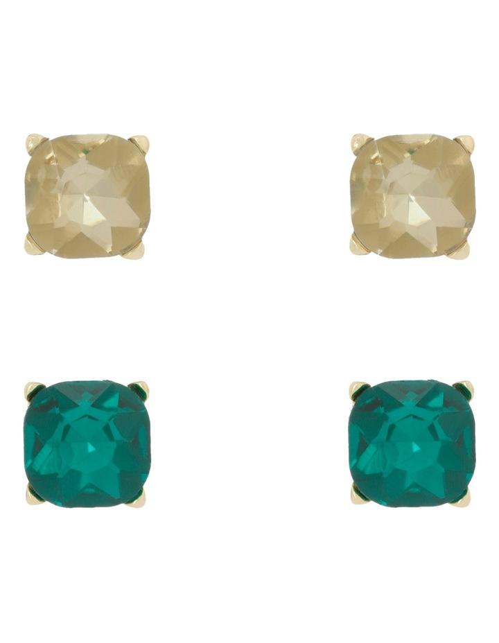 Large Crystal Stud Pack Emerald/Crystal Gold image 1