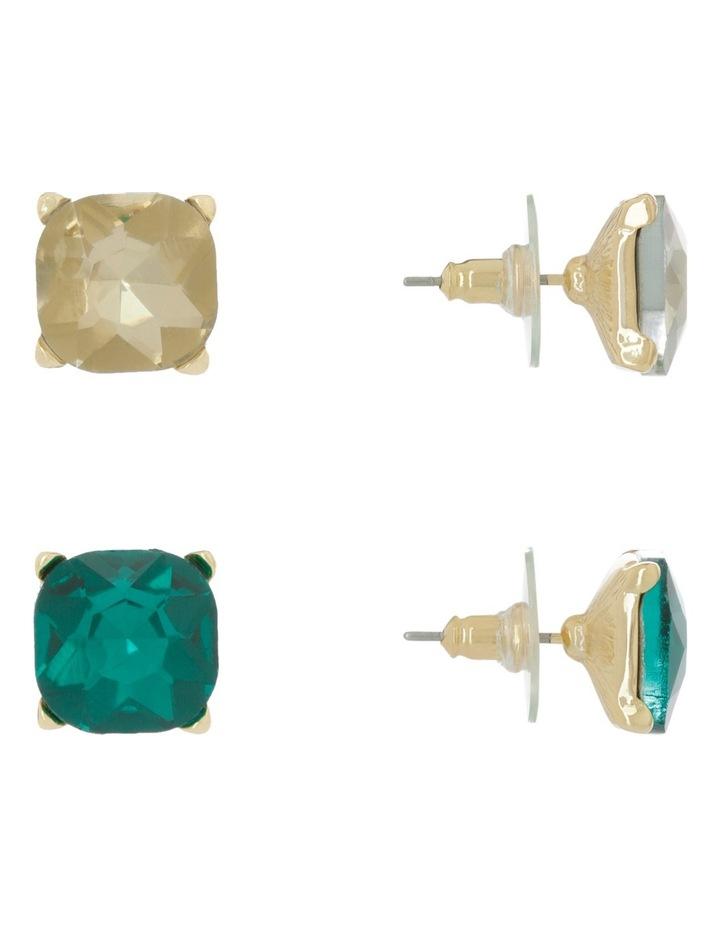 Large Crystal Stud Pack Emerald/Crystal Gold image 2