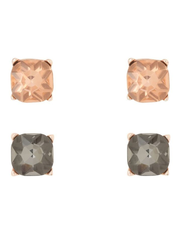 Large Crystal Stud Pack Light Peach and Smokey Black image 1