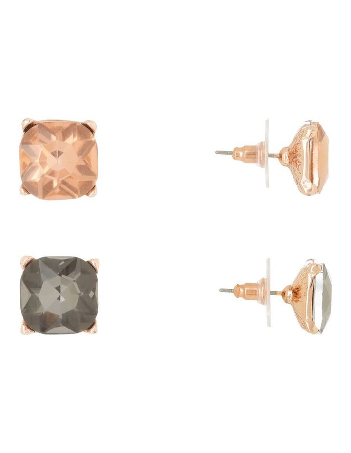 Large Crystal Stud Pack Light Peach and Smokey Black image 2