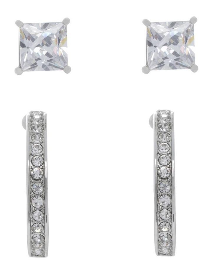 Crystal Hoop and Box Stud Earrings image 1