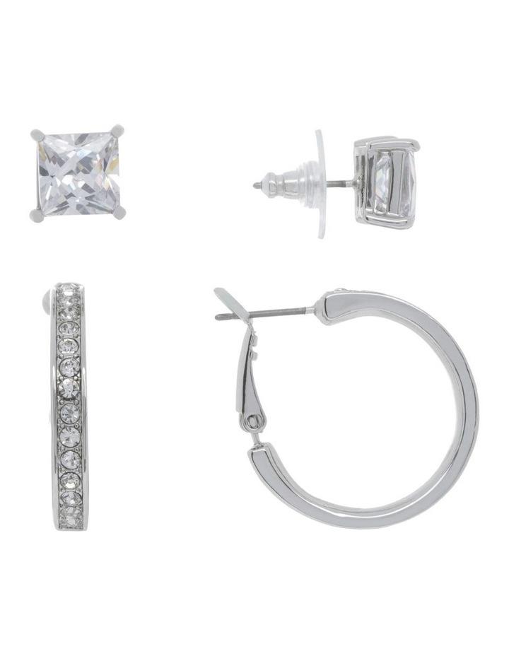 Crystal Hoop and Box Stud Earrings image 2