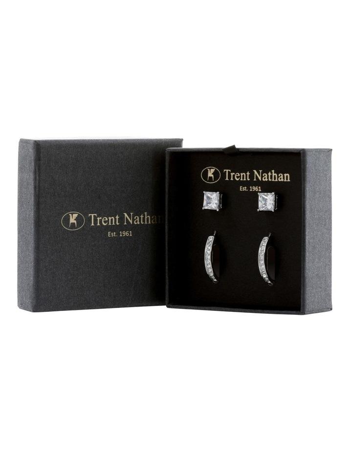 Crystal Hoop and Box Stud Earrings image 3