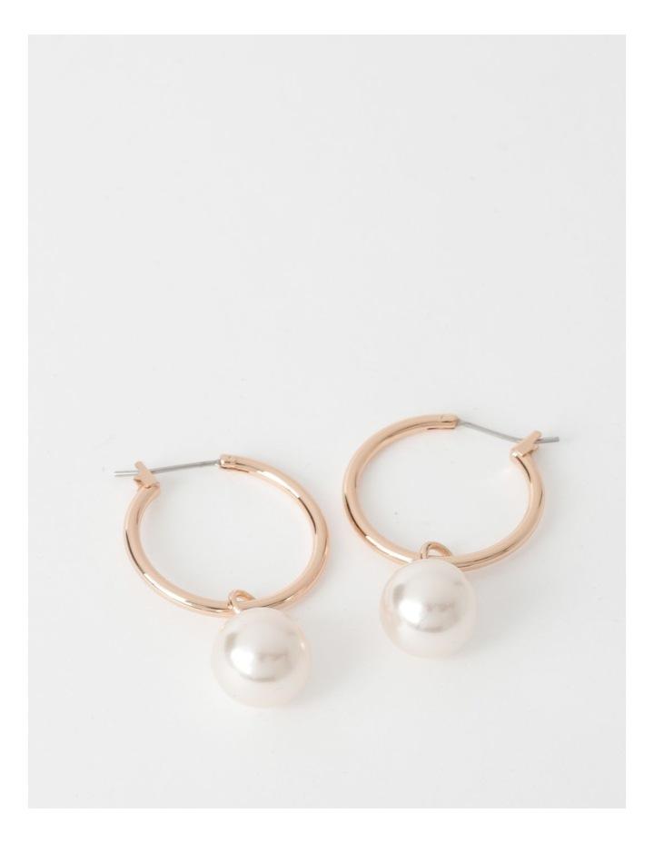 Rose Gold Hoop With Faux Pearl Earrings image 1