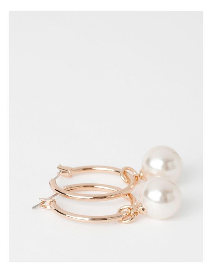 Rose Gold Hoop With Faux Pearl Earrings image 2